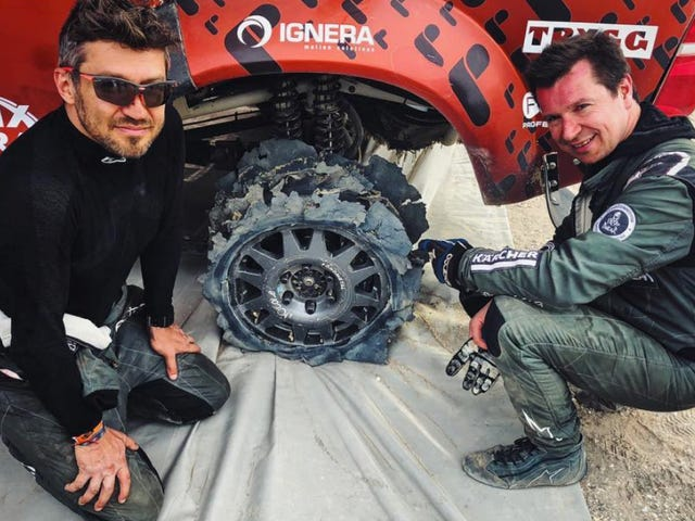 Dakar Team Finishes The Last 24 Miles Of The Day With Only Two Front Tires