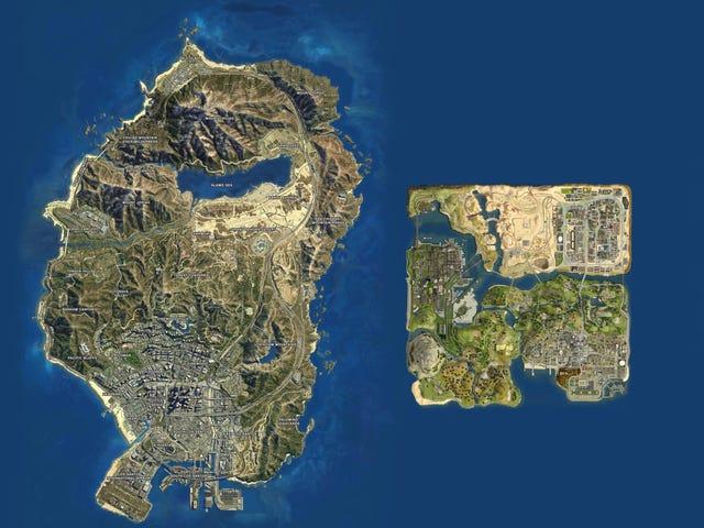 El mapa de San Andreas en<i>GTA V</i>vs el San Andreas de2004