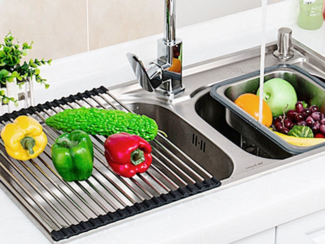 Conserve Precious Counter Space With This Ingenious Roll-Up Drying Rack