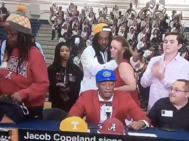 This Mom Just Walked Out of Her Son's Televised College Announcement and I Have Questions