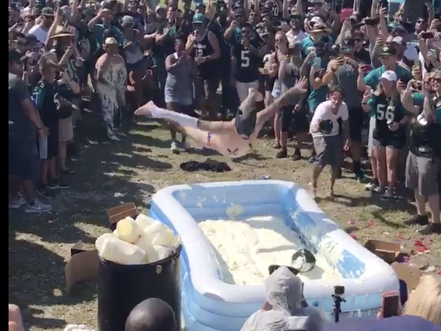 This Belly Flop Contest Into a Pool of Mayonnaise Is the Best-Ever Example of 'That's Some White People Shit'