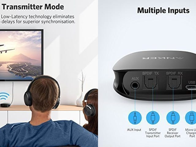 This Anker Bluetooth Receiver and Transmitter Works With Your TV's Optical Audio Output