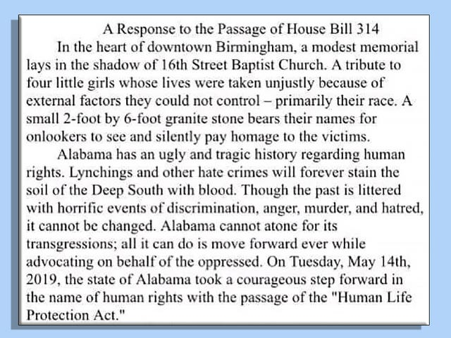 An Open Letter to the White Boys Who Praised Alabama's Abortion Ban By Citing the Bombing of the 16th Street Baptist Church