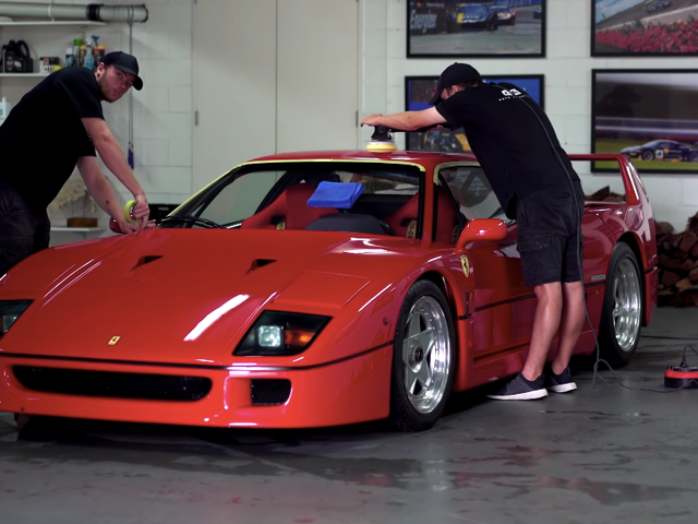 Your Happy Place Is Watching This Ferrari F40 Getting a Full Detail
