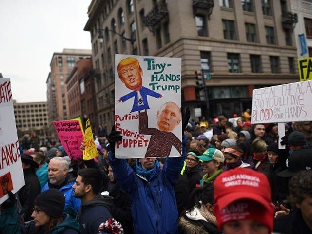 Protests Mark Trump's Inauguration Ceremony