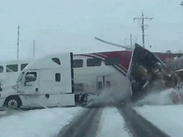 Holy Crap, This Passenger Train Totally Obliterated a FedEx Truck