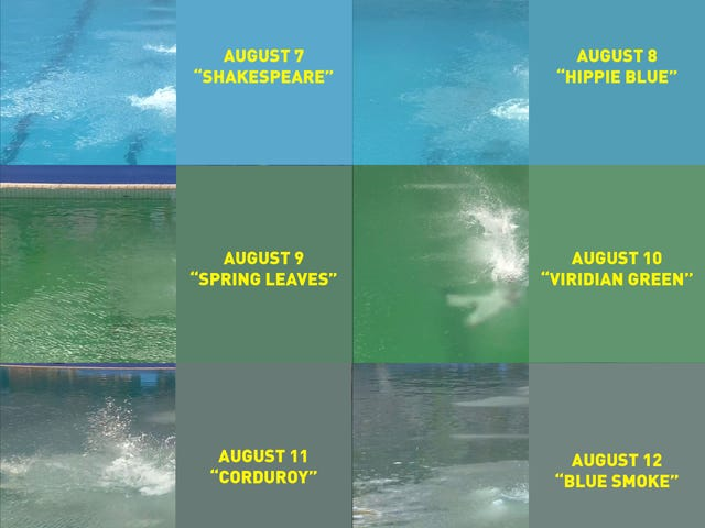 The Olympic Diving Pool Color Progression, By Day