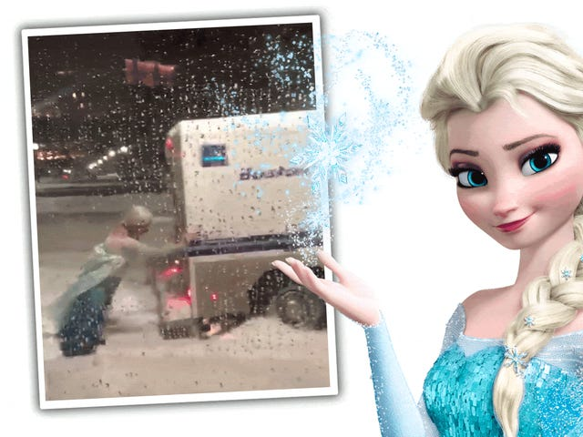 Watch A Man Dressed As Elsa From FrozenShove A Stuck Police Truck Out Of The Snow