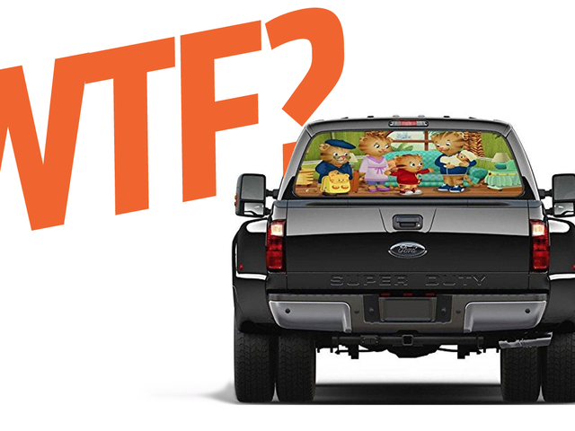 I Just Want To Know Who The Hell Is Buying These Truck Window Decals Of Pizza And Kid's Shows