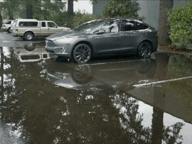 El futuro era esto: un hombre evita mojarse los zapatos convocando a su Tesla fuera de un charco