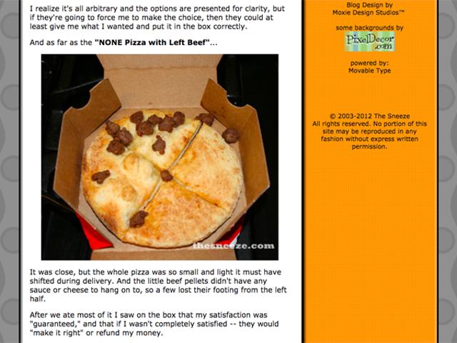 Размышления о 10-й годовщине отсутствия пиццы с левой говядиной