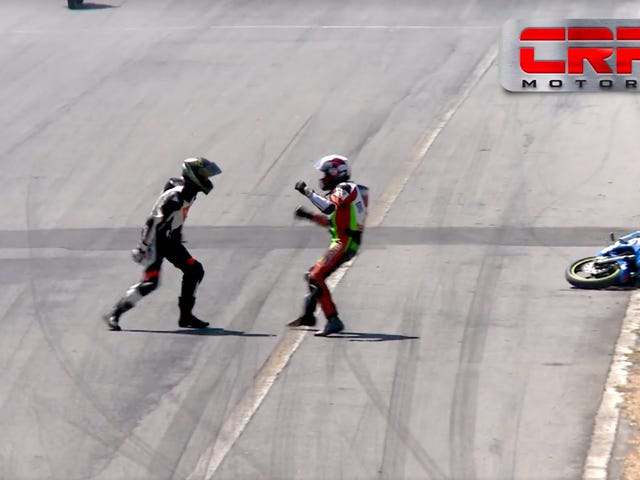 Motorbike Racers Crash Into Each Other, Pull Over, Start Punching Each Other
