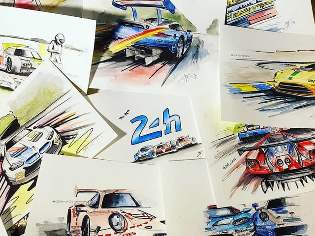 This Amazing Artist Stayed Awake All Night To Capture The 24 Hours Of Le Mans In 24 Pieces
