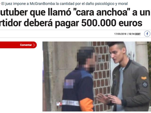 No es cierto que MrGranbomba tenga que pagar 500.000€ al repartidor que llamó caranchoa