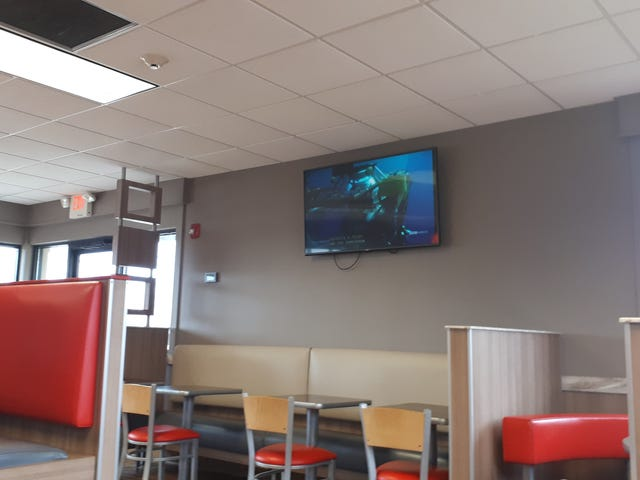 This Burger King is playing Blue Planet