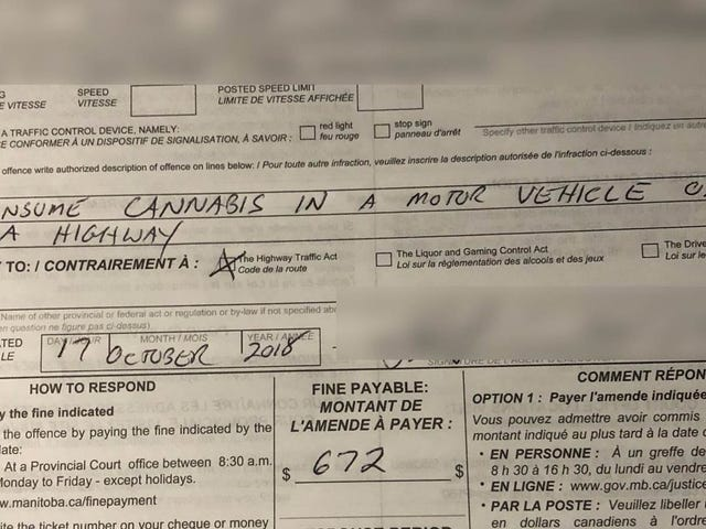 Canadian Cops Issue First Ticket for Driving While Smoking Weed, Just One Hour Into Legal Weed