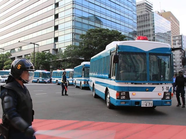 Japanese Riot Buses forming a road block.