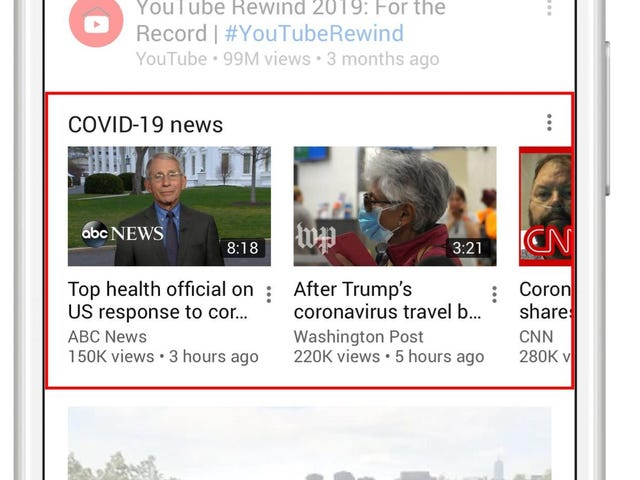 YouTube Launches Verified Coronavirus Coverage Hub on Homepage