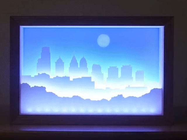 This Custom-Built Clock Tells Time With a Glowing City Skyline