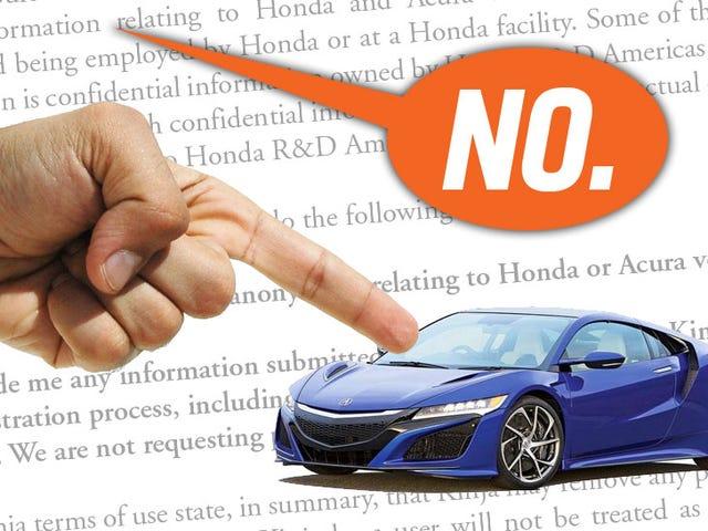 Luật sư của Honda muốn chúng tôi đọc một trong những độc giả của chúng tôi;  Chúng tôi nói địa ngục không