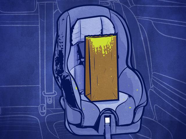 Cada cosa que necesitas para lidiar con la enfermedad del automóvil de tu hijo