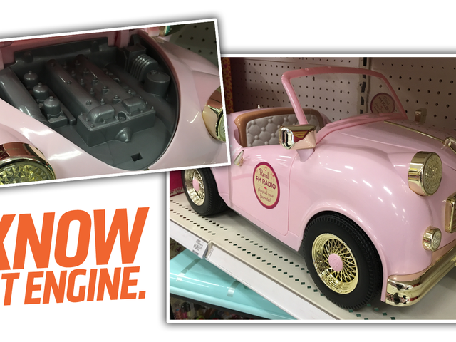 This Very Pink Toy Ride-On Car Has A Surprisingly Specific Engine Design