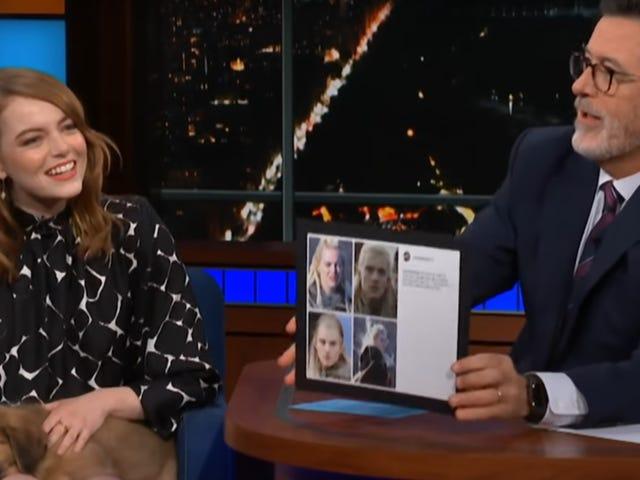Stephen Colbert intervjuer Emma Stone, vil bare snakke om alver