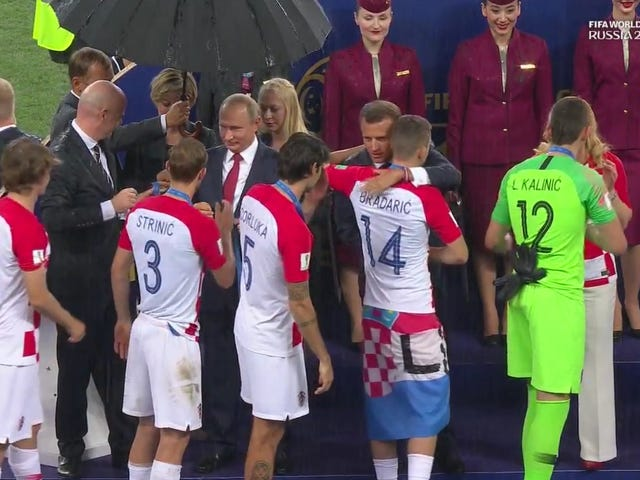 Let Us Congratulate Vladimir Putin For Victoriously Claiming The One Available Umbrella During World Cup Medal Ceremonies