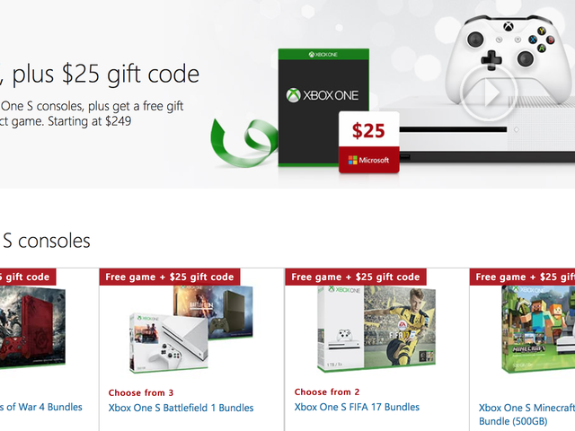 Save $50 On Any Xbox One S Bundle, Plus a Bonus Game and $25 Gift Card