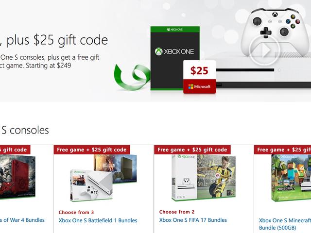 Ahorre $ 50 en cualquier paquete de Xbox One S, más un juego de bonificación y una tarjeta de regalo de $ 25