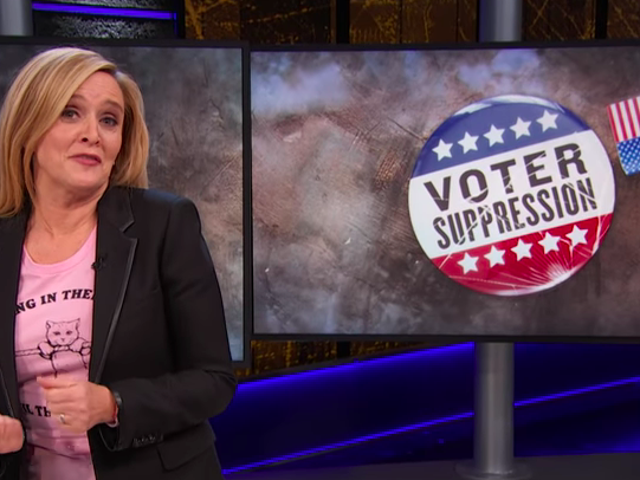 """Sam Bee asks """"How the fuck is this legal?"""" about the GOP's voter suppression fuckery"""