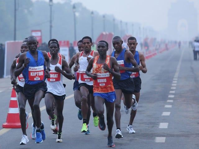 Runners Compete In Delhi Half Marathon Amid Heavy Pollution