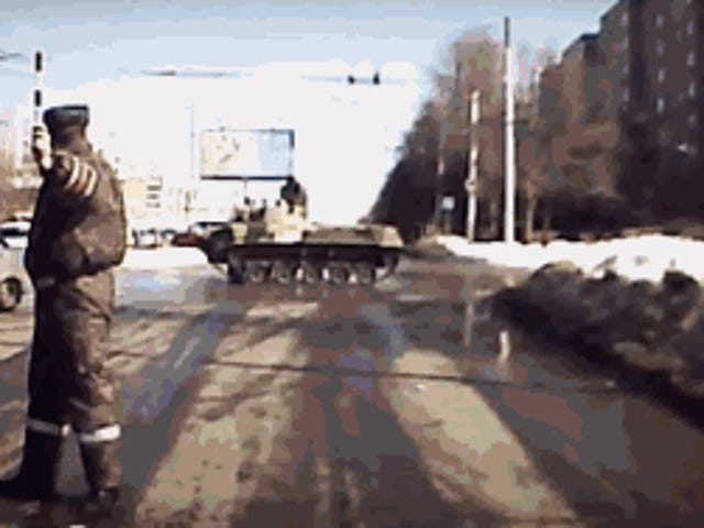 In Russia, pedestrian crossings are for guns.