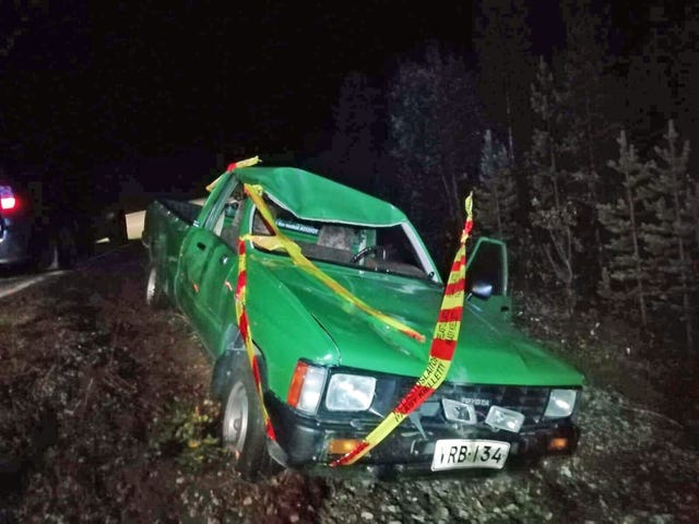 Finnish musician has an elk crash with a Hilux pickup from 80's
