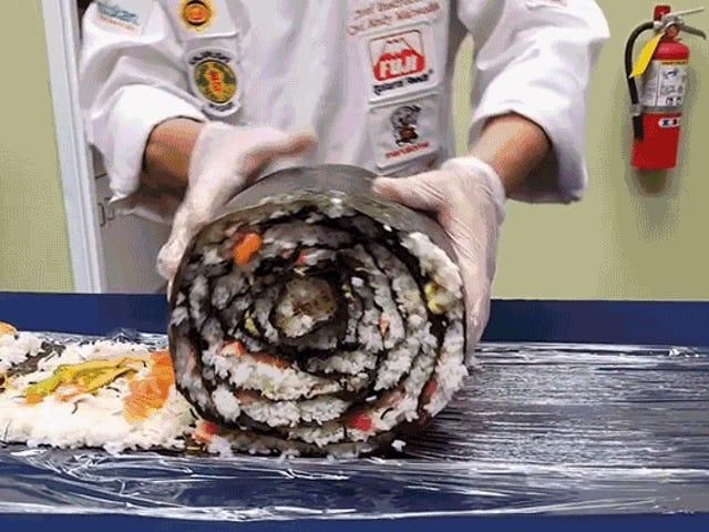 Necesitará un barril de salsa de soja para este monstruoso rollo de sushi