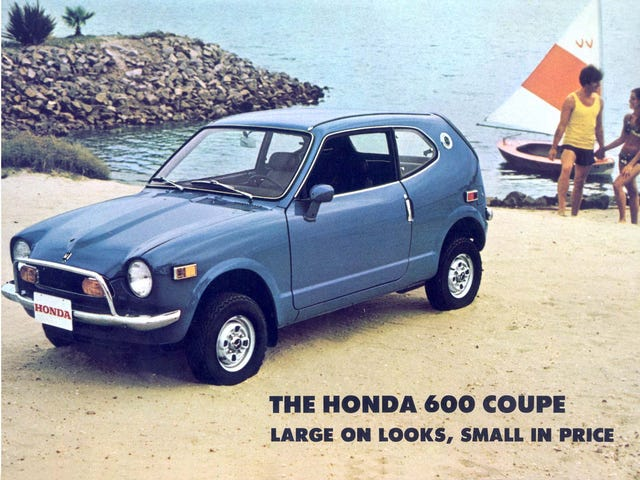"""I think today you should take a cue from this 1971 Honda 600 Coupe ad and describe attractive things as """"large on looks."""" You…"""