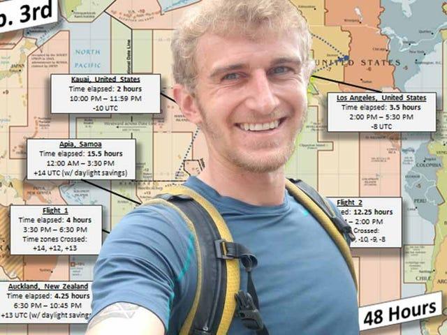 Este hombre consiguió que su cumpleaños durara 48 horas subiéndose a tres aviones en un mismo día