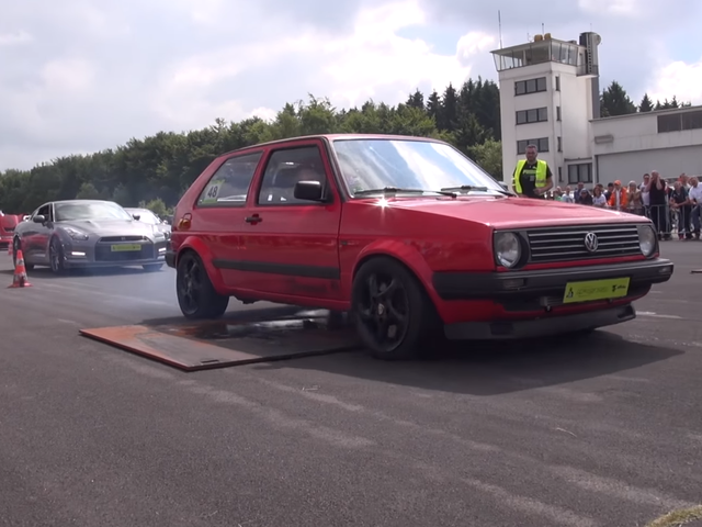 Watch This 600 Horsepower VW Golf Ruin Everyone's Mood At The Drag Strip