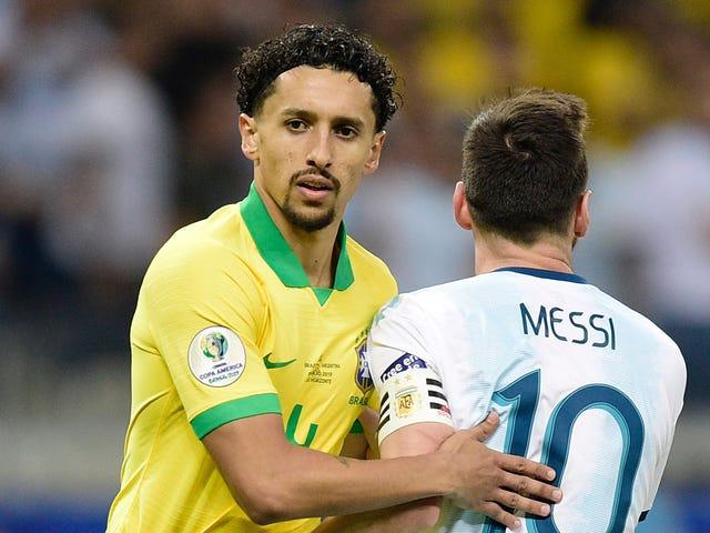 """Marquinhos ของบราซิลกล่าวว่าท้องเสียต่อสู้ทำให้ป้องกัน Messi """"ยากมาก"""""""