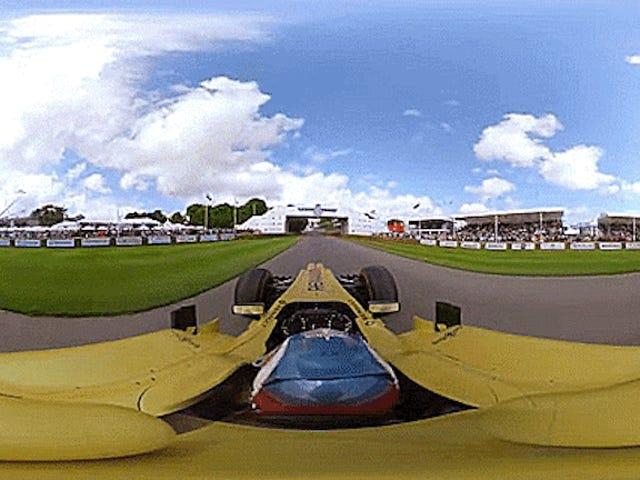 गुडवुड हिलक्लिंब पर एक एफ 1 कार का यह 360-डिग्री वीडियो बिल्कुल जंगली है