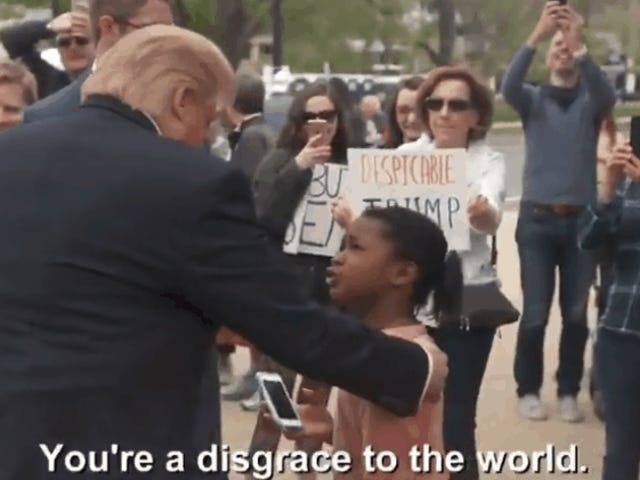 That Viral Video of a Girl Calling Donald Trump a Disgrace is Totally Fake