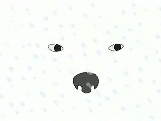 Isbjørn, snestorm.  Snestorm, isbjørn.
