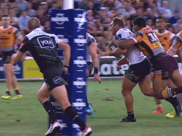 Rugby League Game Ends On Heroic Tackle By The Goalpost