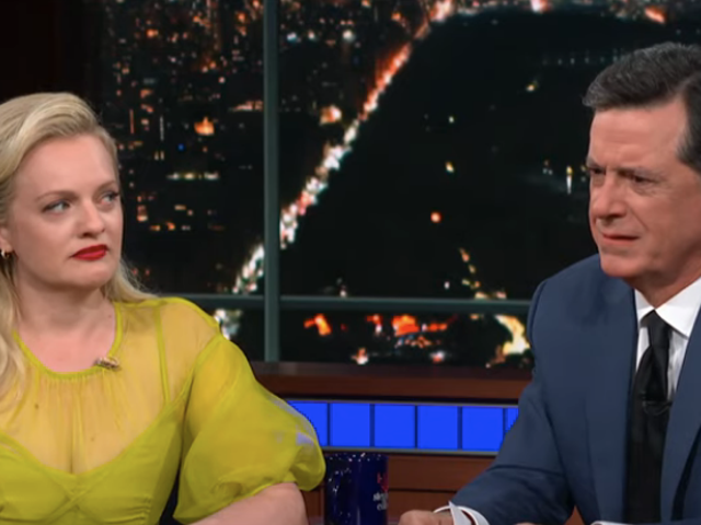 Stephen Colbert challenges champion weeper Elisabeth Moss to a cry-off