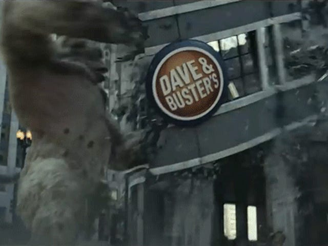 Ne dediğin umrumda değil, bir dev '80s video oyun maymun Dave & Buster'ın çarşı Smashing şiir mi