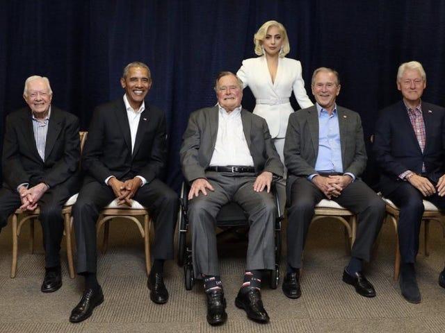 Her er den rette hederlige Lady Gaga med alle de ex-presidenter