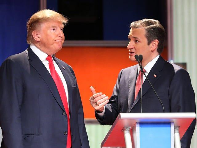 Trump alegou que ia reservar um grande estádio para a campanha de Ted Cruz.  Então ele reservou uma caixa de sapatos