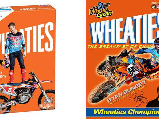Éste es el primer corredor de la motocicleta para hacerla encendido una caja de Wheaties