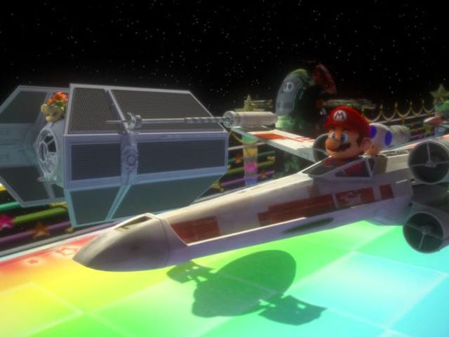 Mario pilots an X-Wing in this Star Wars and Mario Kart mashup