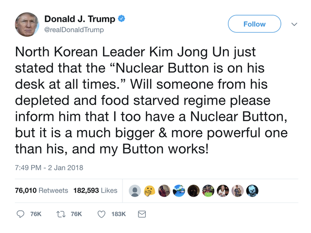 Taunting Kim Jong Un Into World War III Seems Like a 'Violent Threat,' so Why Won't Twitter Suspend Donald Trump's Account?
